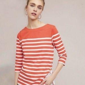 Maeve Anthro Bonnie Boatneck Orange Striped Top XS
